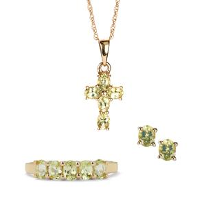 2.93ct Brazilian Chrysoberyl 9K Gold Set of Ring, Earrings, Pendant and Chain