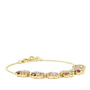 Natural Sakaraha Rainbow Sapphire Bracelet with White Zircon in 10k Gold 8.18cts