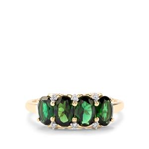 Chrome Tourmaline Ring with Diamond in 10K Gold 1.72cts