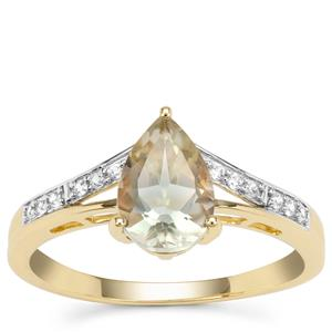 Peacock Parti Oregon Sunstone Ring with White Zircon in 9K Gold 1.32cts