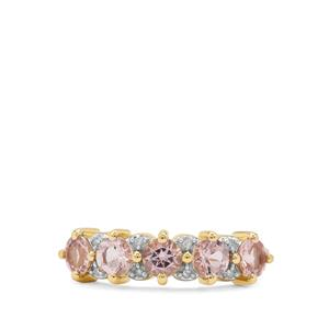 Cherry Blossom Morganite Ring with Diamond in 9K Gold 1.15cts