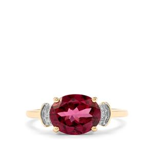 Mahenge Garnet Ring with Diamond in 10k Gold 2.72cts