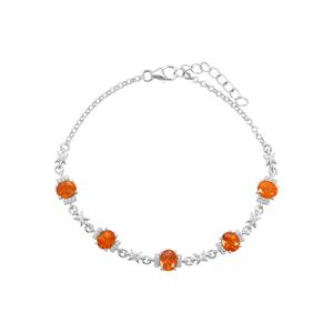 Mandarin Garnet Bracelet with White Zircon in Sterling Silver 5.29cts