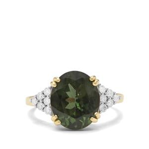 Mandrare Green Apatite & Diamond 9K Gold Tomas Rae Ring ATGW 4.96cts
