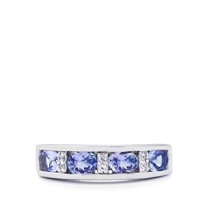 Tanzanite Ring with White Topaz in Sterling Silver 1.37cts