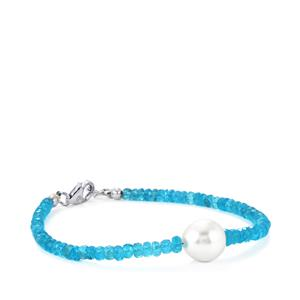 Madagascan Blue Apatite Graduated Bead Bracelet with South Sea Cultured Pearl in Sterling Silver