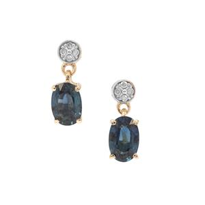 Australian Blue Sapphire Earrings with Diamond in 9K Gold 1.19cts