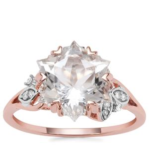 Wobito Snowflake Cut Itinga Petalite Ring with Diamond in 9K Rose Gold 3.74cts