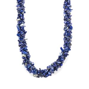 190ct Sar-i-Sang Lapis Lazuli Sterling Silver Necklace