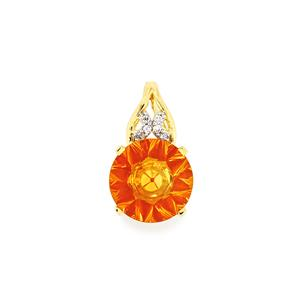 Rio Golden Citrine,Madagascan Ruby Pendant with Diamond in 9K Gold 3cts (F)