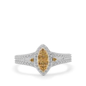 Yellow Diamond Ring in Sterling Silver 0.07ct
