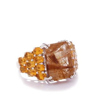 Rutile Quartz & Citrine Sterling Silver Ring ATGW 10.76cts