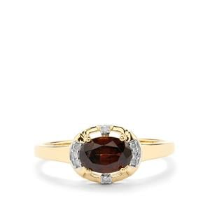 Capricorn Zircon & Diamond 9K Gold Ring ATGW 1.22cts