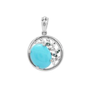 Sleeping Beauty Turquoise Pendant with Blue Diamond in Sterling Silver 2.14cts