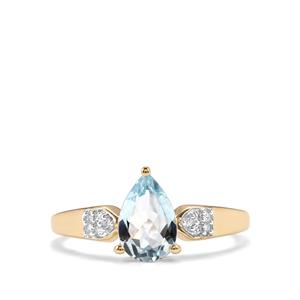 Pedra Azul Aquamarine Ring with Diamond in 10K Gold 0.94ct