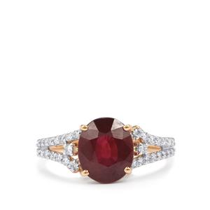 Malawi Garnet Ring with Diamond in 18K Gold 3.55cts