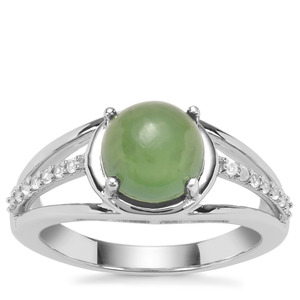 Serpentine Ring with White Zircon in Sterling Silver 2.42cts