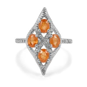 1.62ct Mandarin Garnet Sterling Silver Ring