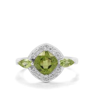 Red Dragon Peridot & White Zircon Sterling Silver Ring ATGW 2.47cts
