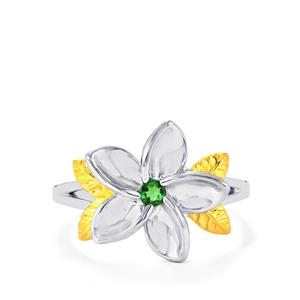 Tsavorite Garnet Ring in Two Tone Gold Plated Sterling Silver 0.09ct