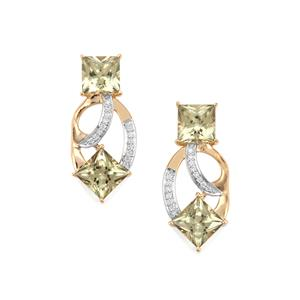 Csarite® Earrings with Diamond in 18K Gold 8.24cts