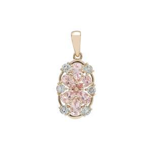 Cherry Blossom™ Morganite Pendant with Aquaiba™ Beryl in 9K Gold 1.50cts
