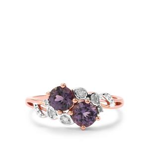 Mahenge Purple Spinel Ring with Diamond in 9K Rose Gold 1.09cts