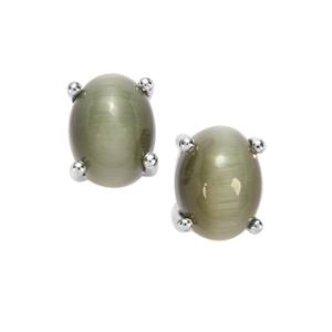 Cat's Eye Earrings in Sterling Silver 3.10cts