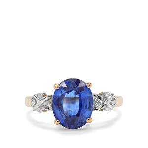 Daha Kyanite Ring with Diamond in 10k Gold 3.42cts