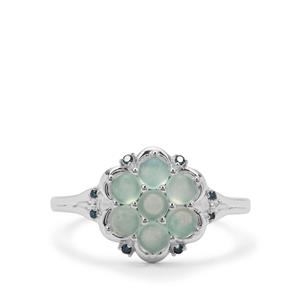Gem-Jelly™ Aquaprase™ Ring with Blue Diamond in Sterling Silver 0.95ct