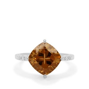 Cognac Quartz Ring with White Zircon in Sterling Silver 4.35cts