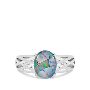 Mosaic Opal Sterling Silver Ring  (9.50 x 8mm)