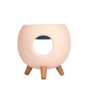 Round Ceramic Oil and Wax Melt Warmer with Wooden Legs