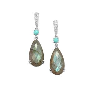 Labradorite, Sleeping Beauty Turquoise Earrings with White Topaz in Sterling Silver 16.88cts
