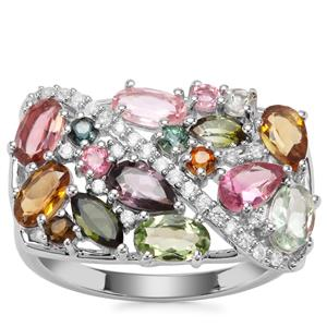 Tutti-Fruiti Tourmaline Ring with White Zircon in Sterling Silver 2.52cts