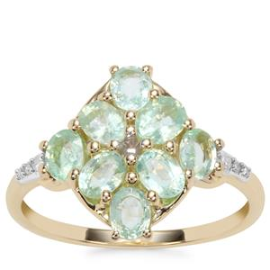 Paraiba Tourmaline Ring with Diamond in 10k Gold 1.33cts