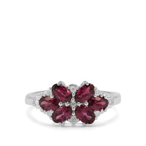 Tocantin Garnet Ring with White Zircon in Sterling Silver 1.93cts