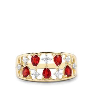Songea Ruby & White Zircon 9K Gold Ring ATGW 1.18cts