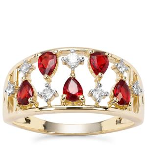 Songea Ruby Ring with White Zircon in 9K Gold 1.18cts