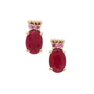Burmese Ruby & Pink Sapphire 9K Gold Earrings ATGW 2.10cts