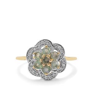 Orissa Alexandrite & White Zircon 9K Gold Ring ATGW 0.95ct