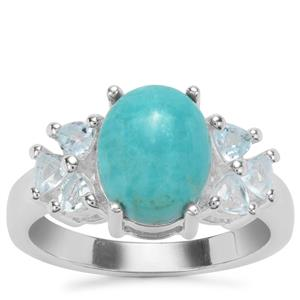 Cochise Turquoise Ring with Sky Blue Topaz in Sterling Silver 3.41cts