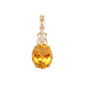 Diamantina Citrine Pendant with Diamond in 9K Gold 4.34cts