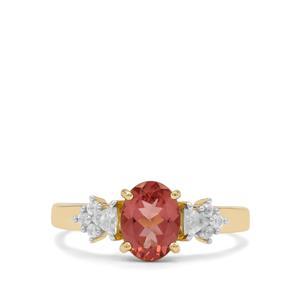 Rosé Apatite & White Zircon 9K Gold Ring ATGW 1.85cts