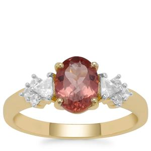 Rosé Apatite Ring with White Zircon in 9K Gold 1.85cts
