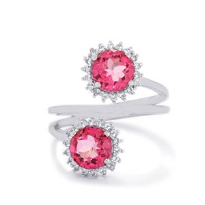 3.51ct Mystic Pink & White Topaz Sterling Silver Ring