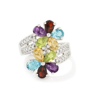 Multi-Color Gemstones Sterling Silver Ring ATGW 3.80cts