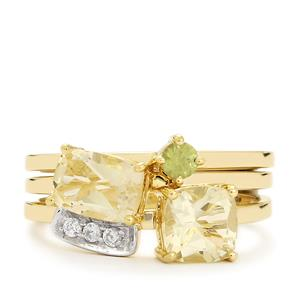 Serenite, Ambanja Demantoid Garnet Set of 3 Stacker Rings with White Zircon in 9K Gold 2cts