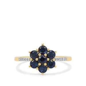 Australian Blue Sapphire Ring with Diamond in 9K Gold 1.05cts