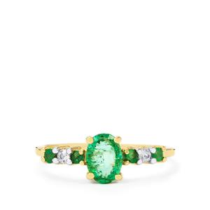 Zambian Emerald Ring with Ceylon White Sapphire in 10K Gold 0.88cts